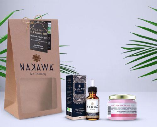 Pack Mini - Huile de pépins de figue de barbarie bio 15ml + baume à lèvre fleur rose-coco - Nakawa Bio Therapy