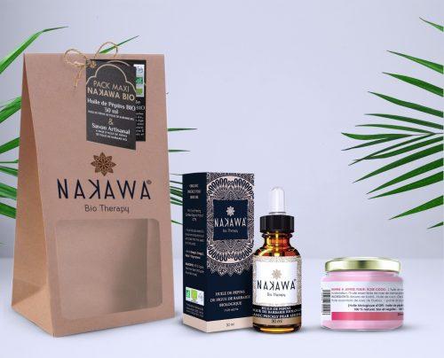 Pack Maxi - Huile de pépins de figue de barbarie bio 30ml + baume à lèvre fleur rose-coco - Nakawa Bio Therapy